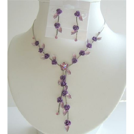 Enamelled Purple Floral & Crystals Y Shaped Necklace Earrings Set