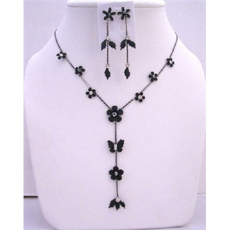 Black Enamel Flower Butterfly Decorated CZ Beads Y Shaped Necklace Set