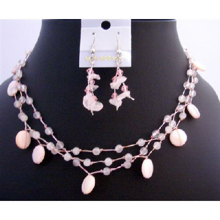 Pink Shell Neckace Rose Quartz Nuggets Fancy Bead Handmade Jewelry Set