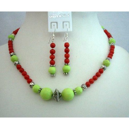 green making handmade jewelry red beads necklacesetsstatic necklace set dyed coral turquoise lime for