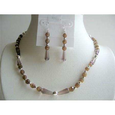 Smoky Quartz Teardrop Brown Cat Eye Beads Handcrafted Necklace Set