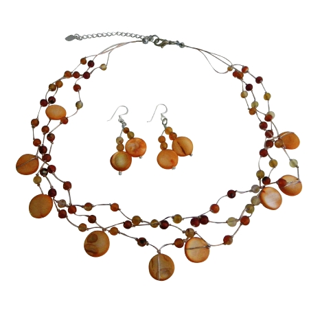 Beautiful Carnelian Shell Nugget Fancy Carnelian Beads Necklace Set