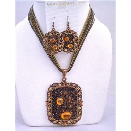 Brown Enamel Necklace Copper Pendant Square shaped Pendant Jewelry Set