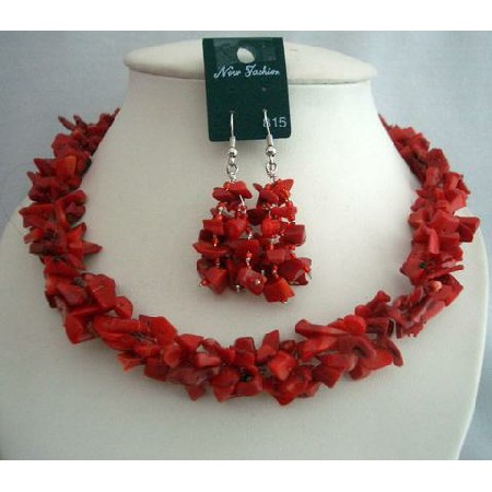 Simulated Semi Precious Coral Nuggets Beads Funky Jewelry Necklace Set