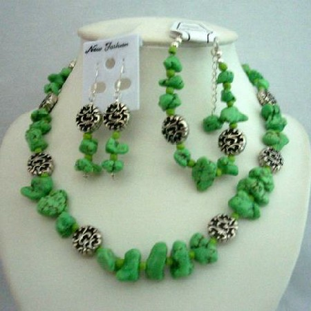 Semi Precious Stone Dyed Lime Green Turquoise Beads Necklace Earrings
