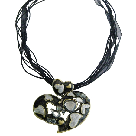 Affordable Heart Jewelry Set Black Multi Heart w/ Sparkling Crystals