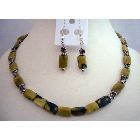 Apple Green w/ Matrix Rectangular Turquoise Beads Handcrafted Jewelry