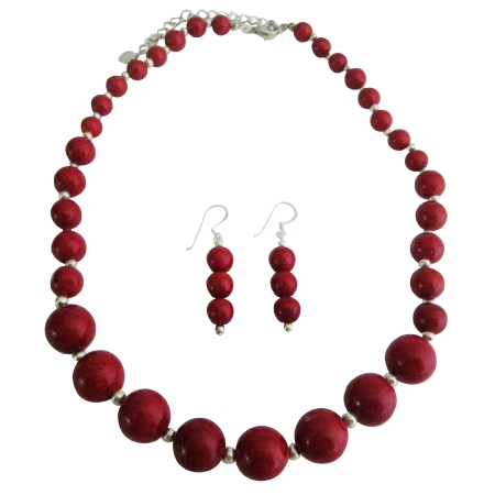 Handcrafted Coral Red Round Faceted Bead Custom Jewelry Necklace Se