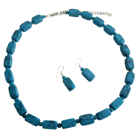 Custom Handcrafted Turquoise Barrel Round Turquoise Beads Necklace Set