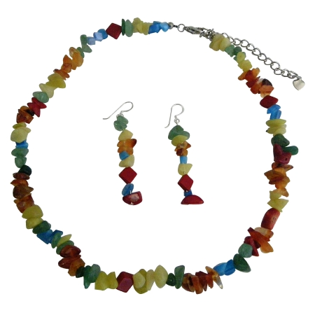 Handmade Necklace Sets Multi Colored Stone Nuggets & Stone Chip