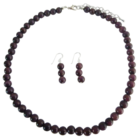 Handcrafted Purple Cat Eye 8mm Faceted Beads Necklace Silver Earrings