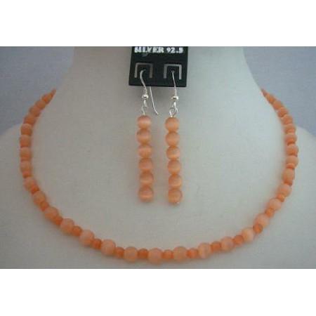 Sleek Dainty Cutom Jewelry Peach Cat Eye Sterling Silver Necklace Set