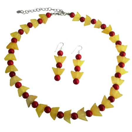 Apple Jade Faceted 8mm Beads Coral 4mm Bead Necklace & Silver Earrings