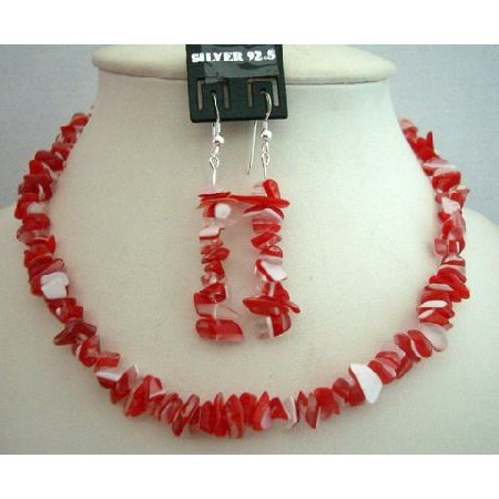 Handcrafted Red & White Stone Chip Necklace w/ Sterling Silver Earrings Custom Jewelry (BRAND NEW)