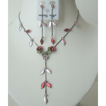 Pretty Soothing Pink & Red Enamel Flower & Crystal Y Shaped Necklace Earrings Set