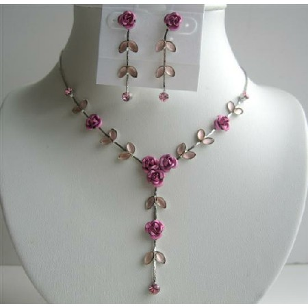 Shades Of Pink Enamel Flower necklace Set Y Shaped Dressed w/ Sparkling Crystal