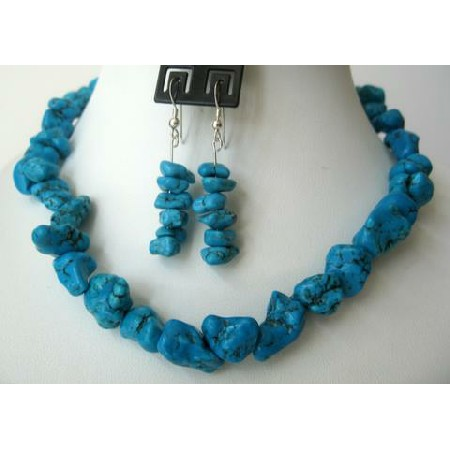 Sterling Silver Natural Turquoise Nugget Necklace Set Handcrafted Turquoise Jewelry