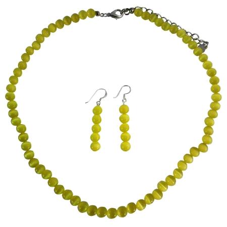 Elegant Gold Cat Eye Necklace Sterling Silver Earrings Custom Jewelry