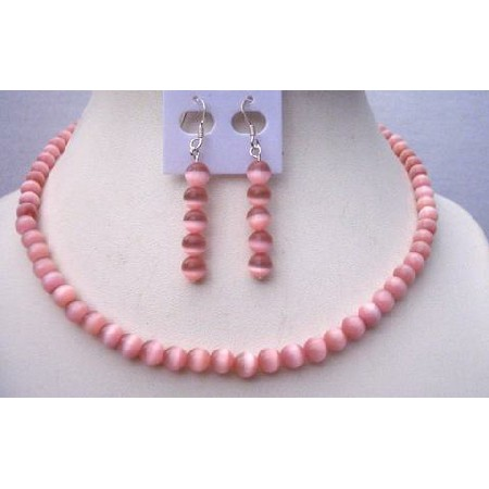 Pink Cat Eye 6mm Sterling Silver Necklace Handcrafted Jewelry Set