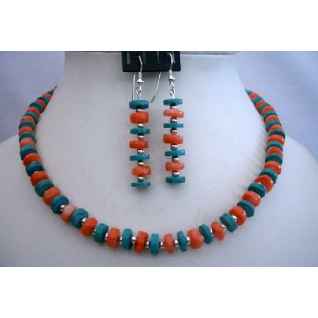 Sterling Silver Turquoise & Coral Ring Necklace Set Handcrafted Turquoise Jewelry