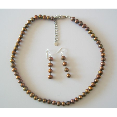 Necklace Set Brown Metallic Freshwater Pearl w/ Sterling Silver Earrings & Stretchable Bracelet