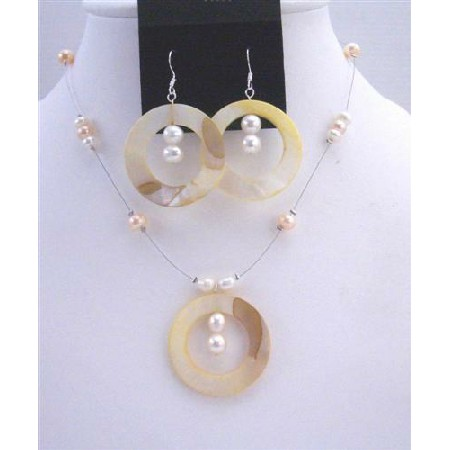 Shell Freshwater Pearl Necklace Set Round Shell Pendant & Sterling Silver Earrings Jewelry set