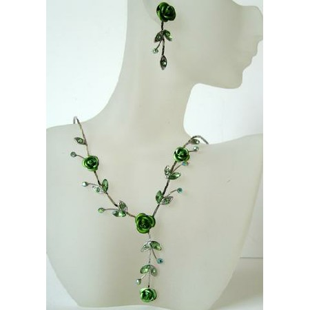 Gorgeous Green Enamel Crystals Flower Necklace Set Y Shaped