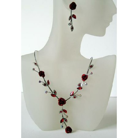 Vintage Red Enamel Crystals Flower Necklace Set Y Shaped