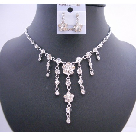 Cubic Zircon Sleek Simulated Diamond Dangling Flower Jewelry Set