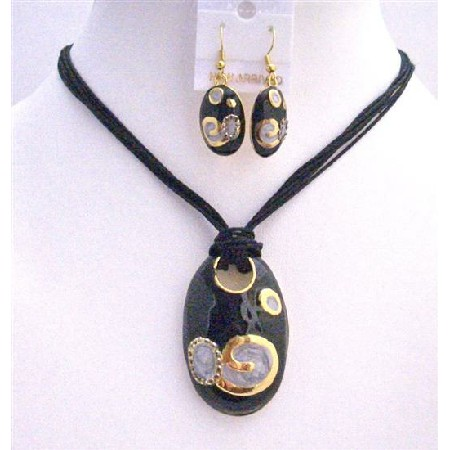 Gorgeous Stylish Fabulous Black Gold Jewelry Set Enamel Black Pendant w/ Paint Designed Pendant Necklace Set