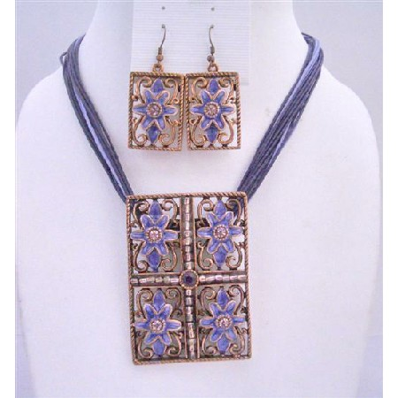 Purple Multi Stranded Necklace Set w/ Rectangle Pendant Purple Enamel Flower Embossed Jewelry Set