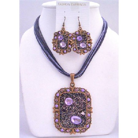 Fabulous Square Copper Pendant Jewelry Set & Simulated Crystal Necklace & Earring w/ Multi String Necklace