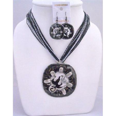 Unique Striking Black Enameled Necklace & Earring w/ Multi String Necklace