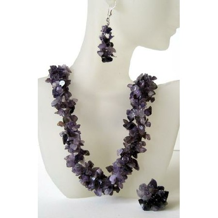 Amethyst Stone Chips Handcrafte Necklace Earrings & Rings