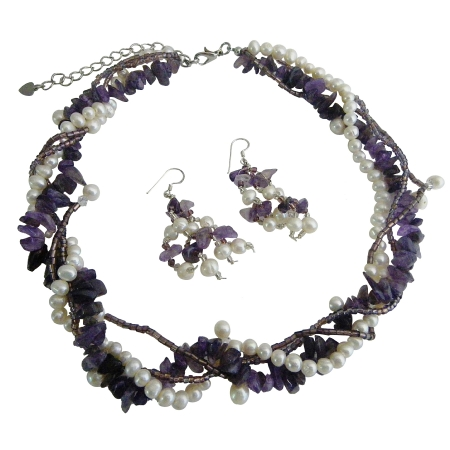 Multi String Freshwater Pearl & Amethyst Stone Chips Handcrafte Necklace Sterling Silver Earrings