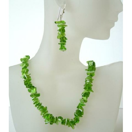Peridot Stone Chip Handcrafted Custom Jewelry Beautiful Peridot Necklace Set
