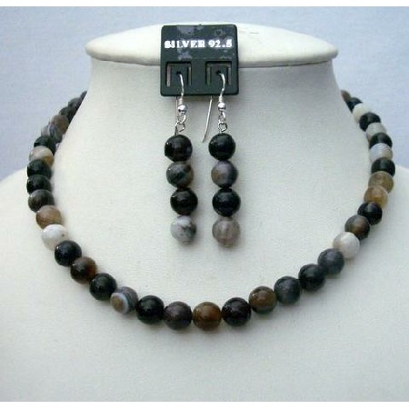 Black Agate Bead Necklace 8mm Sterling Silver Earing Custom Jewelry