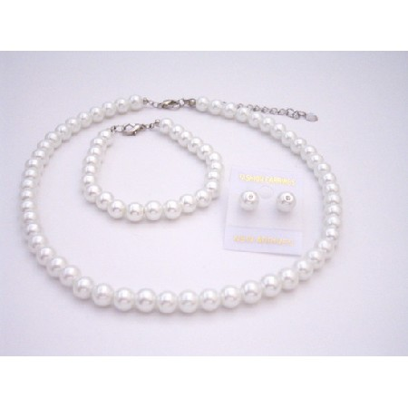 White Synthetic Pearls Bridesmaid Jewelry Set Stud Pearls Earrings Set