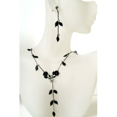 Black Enamel Necklace Set