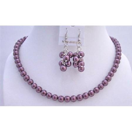 Purple Amethyst Pearls Jewelry Set Beautiful Wedding Pearl Necklace Set