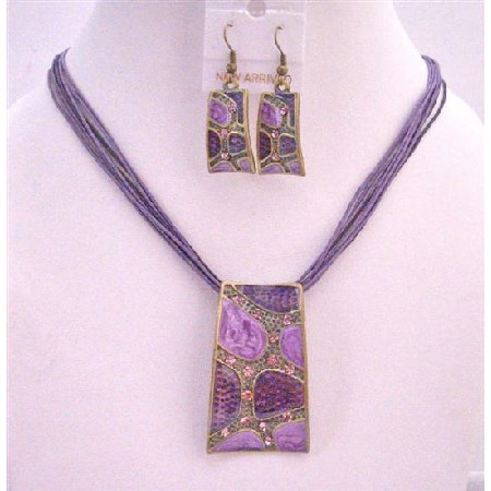 Beautiful Purple Enameled Self Designed Necklace Set Dainty w/ Rhinestons