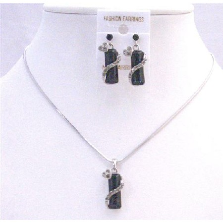 Vintage Black Drop Down Crystals w/ Simulated Crystals Necklace Set