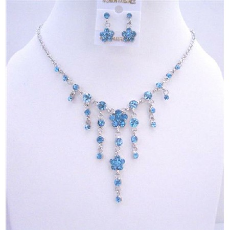 Victorian Flower w/ Simulated Crystal Necklace Set Y Shaped Aquamarine Jewelry Set
