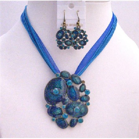 Enamel Jewelry Set Multistrand Necklace Set Blue Jewelry