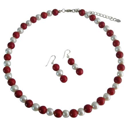 White Pearls & Coral Red Beads Necklace Set Sterling Silver Earrings