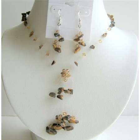 Tiger Eye Jewelry Set Tassel Tiger Eye Necklace w/ Sterling Silver Earrings