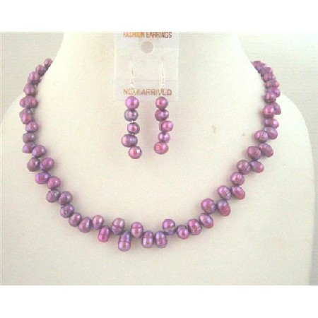 Side Drill Purple Dyed Metallic Freshwater Pearl Necklace Set Custom Handcrafted Jewelry