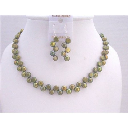 Handmade Dyed Freshwater Coin Pearl Metallic Olivine Necklace & Sterling Silver Earrings