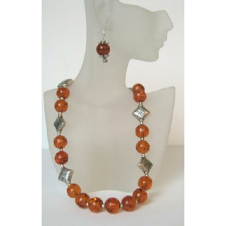Handmade Ethni Amber Necklace w/ Sterling Silver Earrings & Bali Silver Spacing
