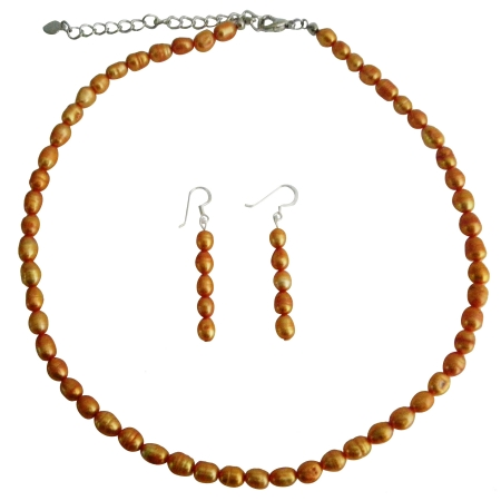 Rice Shaped Freshwater Pearl Metallic Orange Color Handmade Necklace & Fish Wire Earrings
